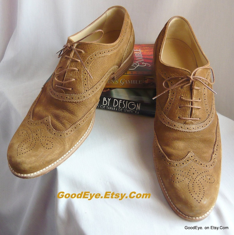 227861f1dfded Vintage Louis VUITTON Suede Oxford Shoes / Men size 12 Eu 46 Uk 11 .5 /  Lace up LV Wing Tips Designer / Cognac Tan Leather made Italy