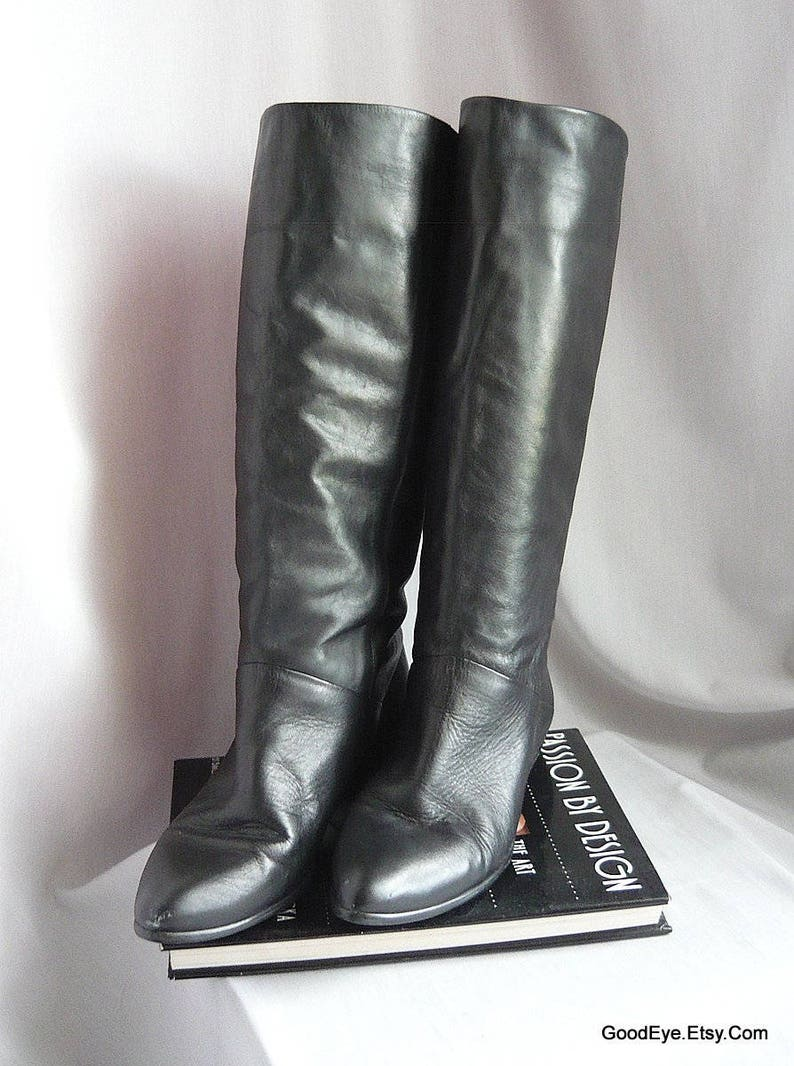 acf166bc8e496 Vintage Black Leather Slouch Boots / Size 8 .5 M Eu 39 Uk 6 / Pixie Pirate  Wide Leg Flat Cuff / 1990s Made Brazil