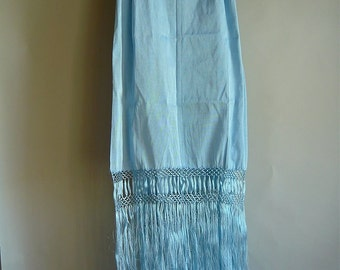 Vintage Piano Scarf Shawl HAND Knotted Fringe Pastel Blue LONG