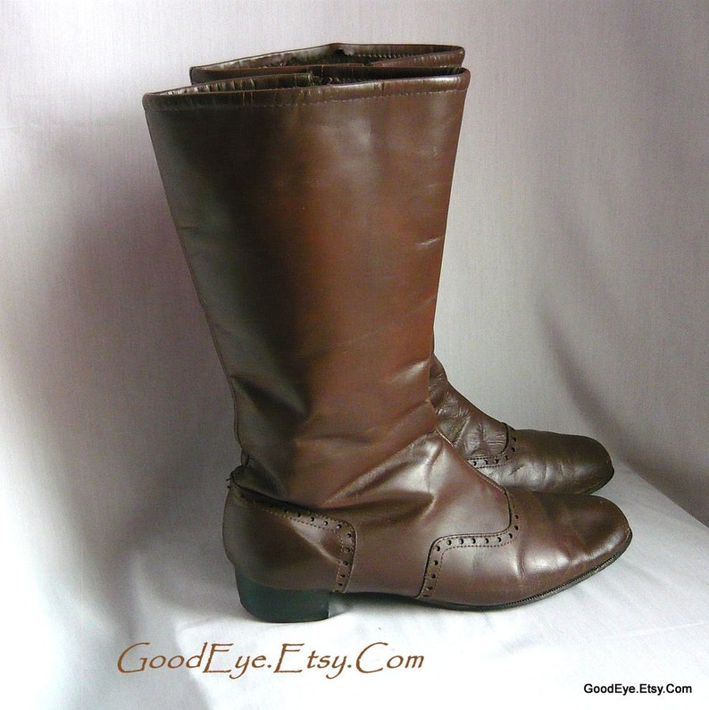 3647f3f56fe08 Genuine 60s MOD GoGo Boots / size 9 .5 Narrow Eur 41 Uk 6 .5 / Leather  Upper Fleece Lined / Brown DUNHAM Winter Ankle boot Vlv