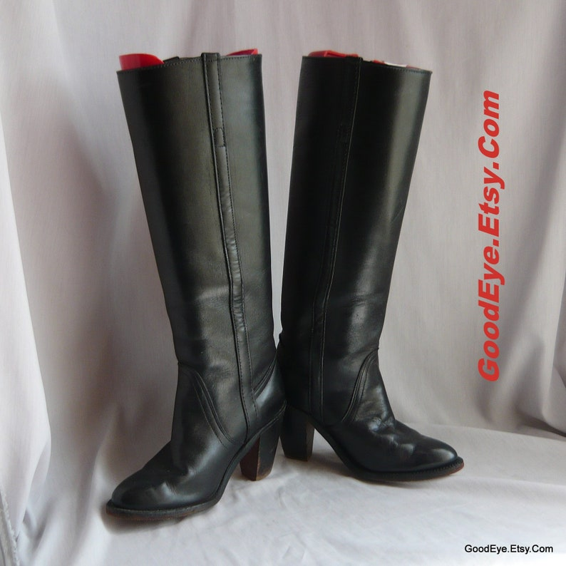 e6681c678fe Vintage FRYE Riding Boots Black Leather / Size 5 -b Eu 35 UK 2 .5 / Tall  Chunky Campus High Heel / made in USA 1990s Urban Cowboy