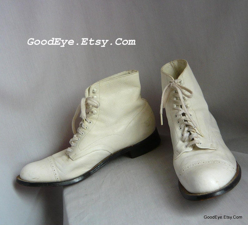 71e6104b1a153 Vintage STACY ADAMS Ankle Boots Mens / size 10 D Eu 43 Uk 9 .5 / WHITE  Leather Captoe Oxford Laceup Shoes / Dandy 1920s costume