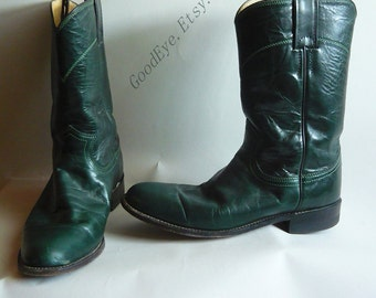 Vintage Justin Roper Ankle Boots / Size 7 Eur 37.5 Uk 4 .5 / Mens sz 6 B / All Leather made in USA / Avocado GREEN