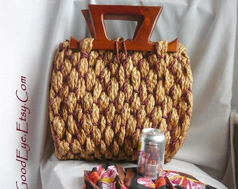 Large n Unusual JUTE Handbag Woven Straw Purse / Vintage 1940s 50s Amazing Bag Bohemian Beatnik / WOODEN Top Handle