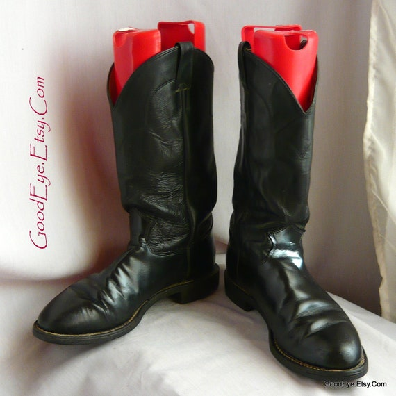 Men's Classic Black Leather JUSTIN Cowboy Roper Boots size 9 d Eu 43 Uk 8 .5 Western Rockabilly Ankle WORK boot made in USA