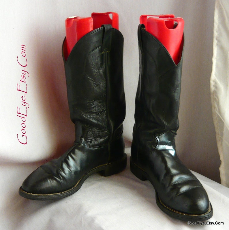 f1aa7bfe1706c Classic Black Leather JUSTIN Cowboy Roper Boots / Men size 9 -d Eu 43 Uk 8  .5 / Western Rockabilly Ankle WORK boot / made in USA