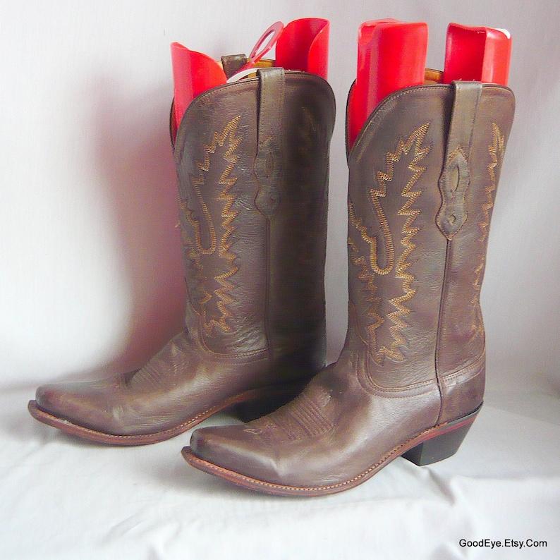 c0179fd6f25 size 9 .5 - Vintage OLD WEST Cowboy Boots / Ladies sz Eu 41 UK 7 / Brown  Leather Western Flame Stitch