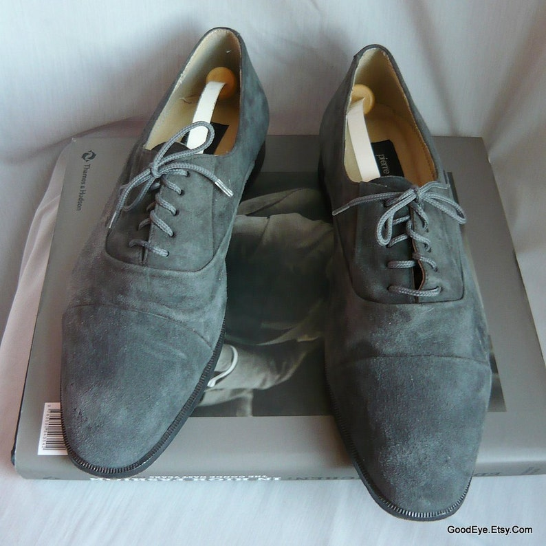 5eaf0733184fa Vintage PIERRE CARDIN Suede Oxford Mens Shoes / size 9 D Eu 43 UK 8 .5 /  Grey Leather Lace Up 1990s / Made in Spain Designer