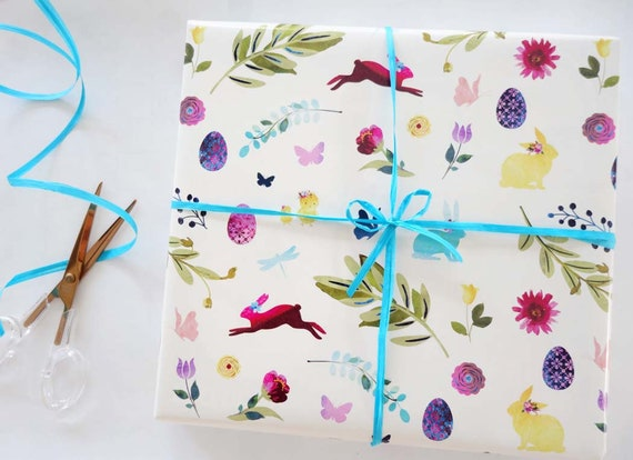 1st Gift wrap for Easter Bunny Wrapping paper watercolour illustrations Squirrel Wrapping paper for Hedgehog animal wrapping paper