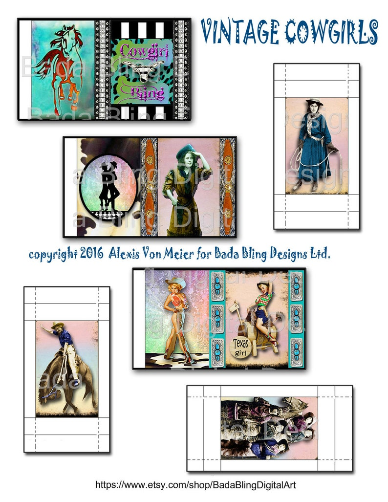 3 collage sheets create 9 different  matchboxes INSTANT DOWNLOAD at Checkout..cowgirls cowgirl up gift boxes rodeo Vintage Cowgirl