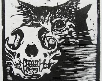 Cat and Cat Skull (woodcut)