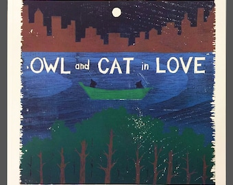 Owl and Cat In Love book SIGNED COPY
