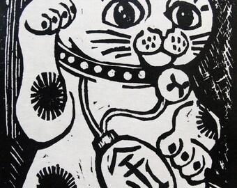 M for Maneki Neko (woodcut)