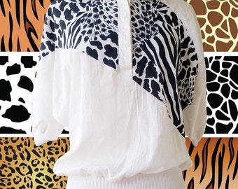 Vintage BOCA BAY Collection Black White Animal Print Slouchy Top S M Collared Button Balloon Poofy