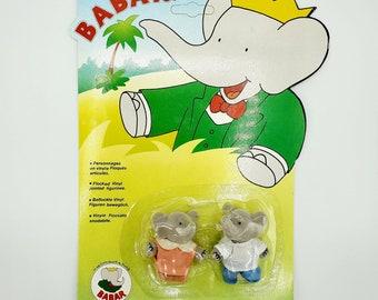 New Vintage 1990 BABAR Flora Pom Flocked Figurines Jointed Toys Unopened
