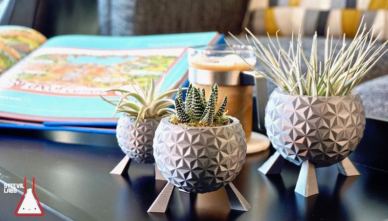 Walt Disney World Epcot Spaceship Earth Inspired Planter Pot image 0