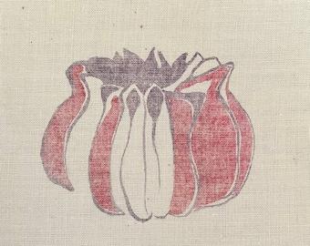 Ghosty Red Pod III (original monoprint on muslin)