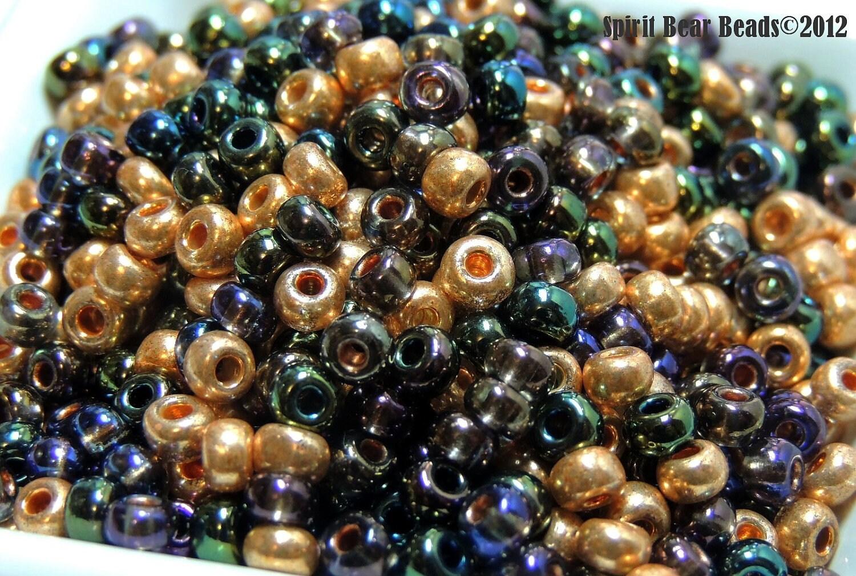1758 Mix Travertine Cut 60 Seed Beads 60 Matubo Cut Travertine Seed Bead Mix 16 grams
