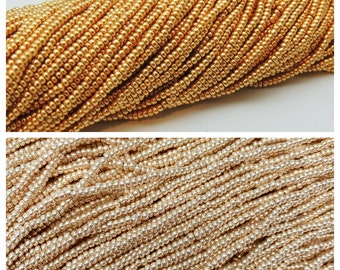 Bright Gold or Rose Gold Czech Glass Seed Beads size 11/0 one Hank
