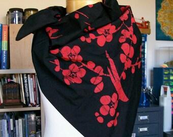 Vintage Cotton Batik Wrap Scarf Japan Rozome Black & Red Cherry Blossom Design 34 x 35