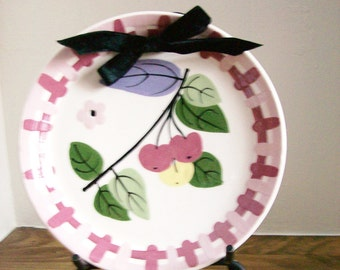 Vintage Cleminsons Pottery Wall Hanging Plate Pink Cherries California Pottery 8""