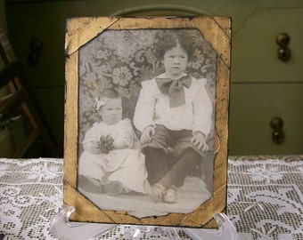 Vintage Photo Children Sweet Boy & Girl Victorian Antique Black and White Under Glass 4x5