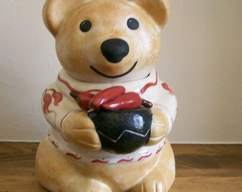 Vintage Cookie Jar Cute Bear from Santa Fe NM with Red Chiles Hand-Painted Pottery SW Design