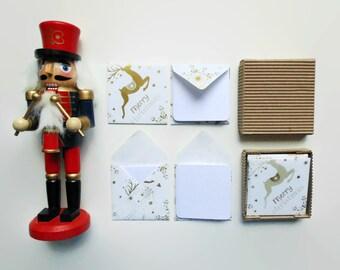 Christmas Golden Reindeer Mini Stationery Sets, Tiny Square Envelopes, White Blank Mini Cards