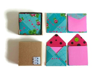 Ladybugs Mini Stationery Set - Cute Turquoise Square Envelopes, Small Pink Note Cards, Blank Greetings Cards, Gift Under 15 Love Expressions