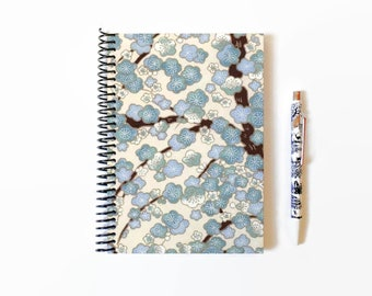 Blue Cherry Blossoms, Japanese Design, 5x7 Inches, Notebook or Notepad, Spiral Bound
