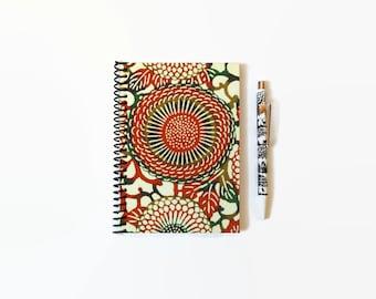 Japanese Chrysanthemum, A6 Notebook or Notepad, Spiral Bound, Blank Pocket Journal