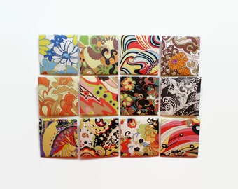 Sixties Design, Mini Stationery Set, Floral and Psychedelic Envelopes, White Blank Folded Cards