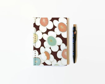 Kimono Big Flowers, A6 Notebook Spiral Bound, Pocket Journal, White Blank Pages