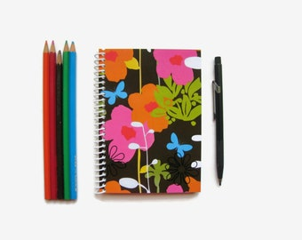 Colorful Flowers, Cute A6 Notebook Spiral Bound, Pocket Journal, White Blank Pages