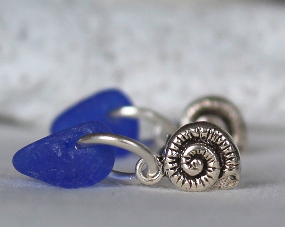 Little Nautilus sea glass earrings in cobalt blue