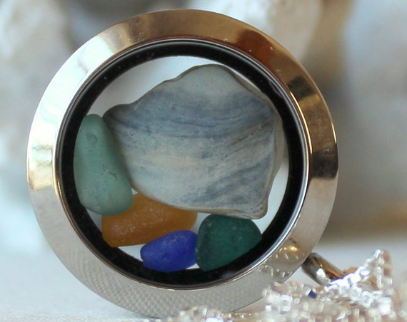 Porthole sea glass locket in blue and green