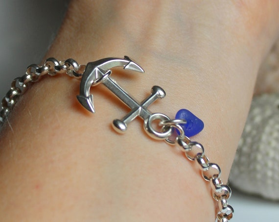 Anchored sea glass bracelet in your choice of colour