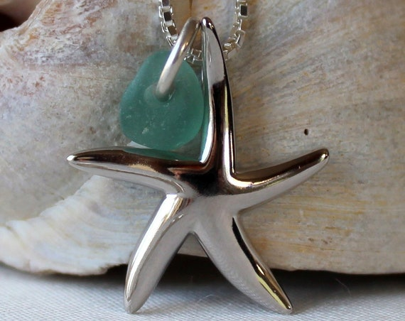 Little Starfish sea glass necklace in teal green