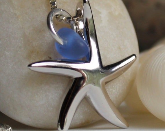Little Starfish sea glass necklace in cornflower blue