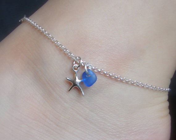 Little Starfish beach glass anklet in sterling silver
