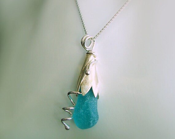 Sea Lily beach glass necklace in aqua