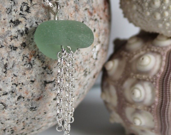 Little Jellyfish sea glass necklace in seafoam