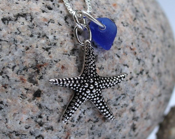 Starry Starry Night sea glass necklace in cobalt blue