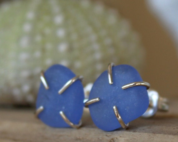 Tiny Ocean sea glass stud earrings in cornflower blue