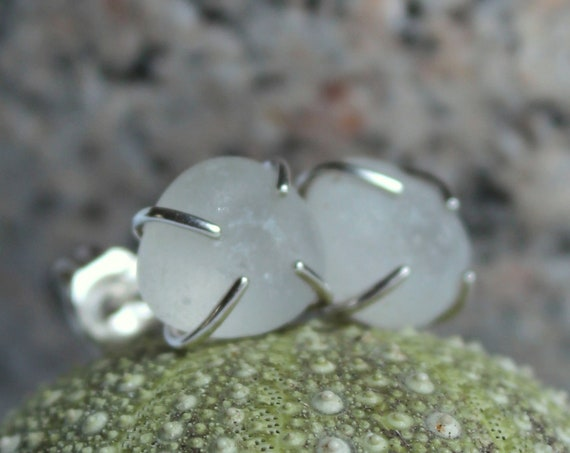 Tiny Ocean sea glass stud earrings in white