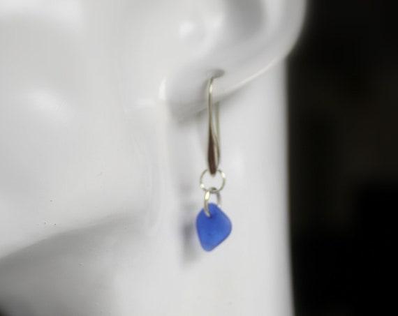 Horizon sea glass earrings in cobalt blue