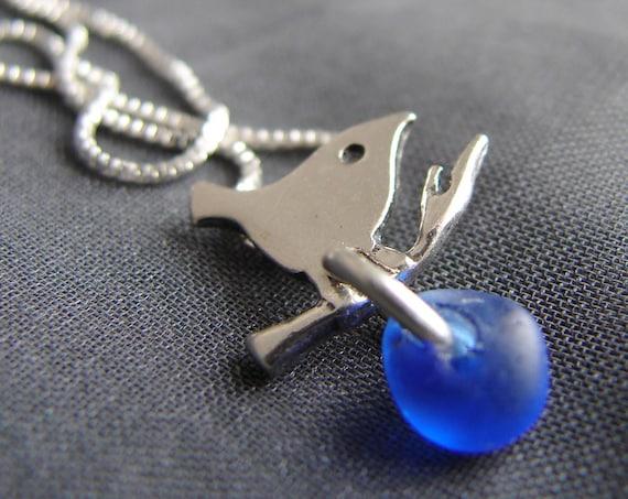 Little Bird sea glass necklace in cobalt blue