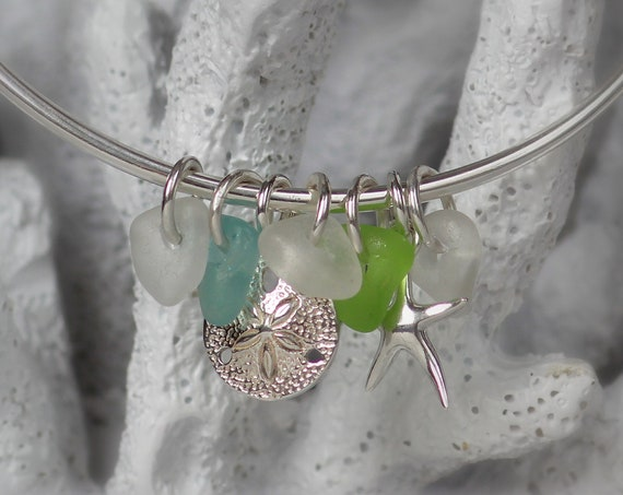 Ocean sea glass bracelet in aquamarine, green and white