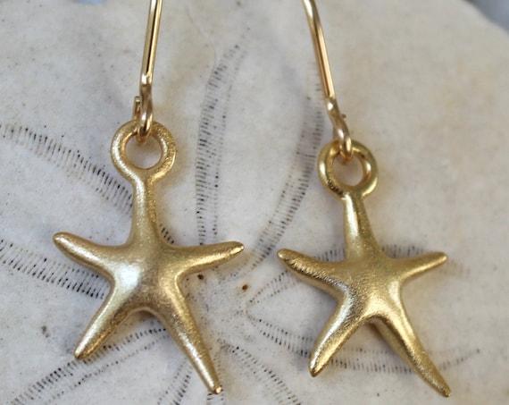Little Starfish gold filled earrings