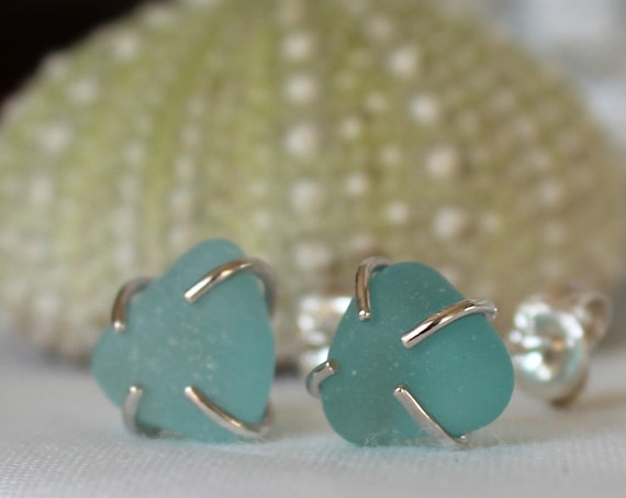 Tiny Ocean sea glass stud earrings in aquamarine